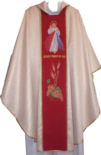 Gothic Chasuble in Jacquard-Patterned (unlined) - Divine Mercy