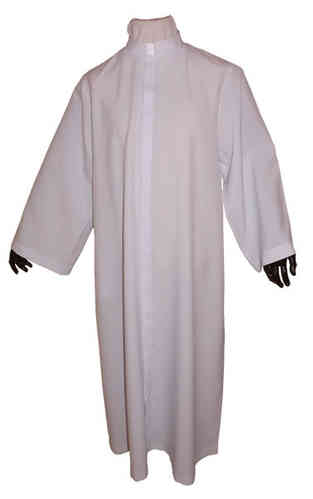 Lightweight White Polyester Cassock - Fly Front
