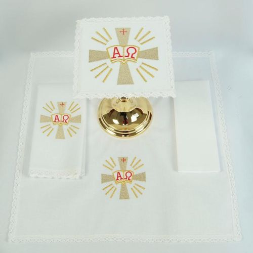 Small Linen - Cross with rays, Alpha & Omega
