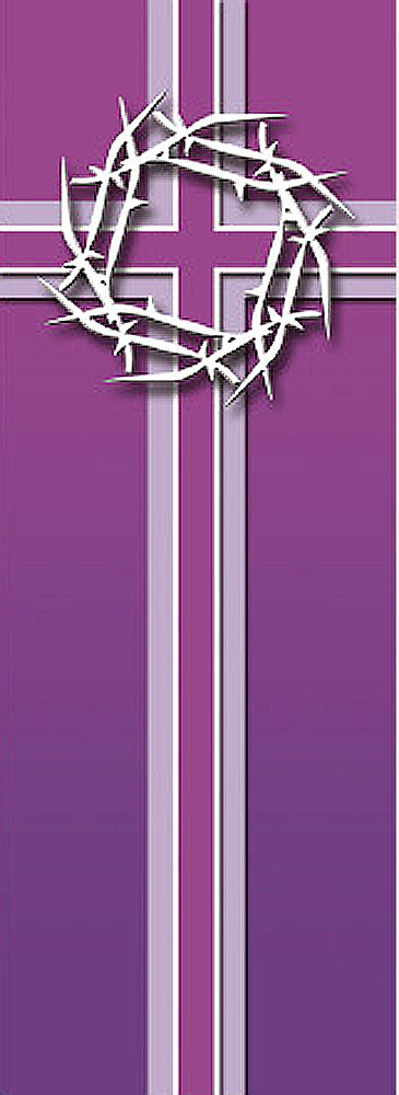 Crown of Thorns on Purple Cross Background