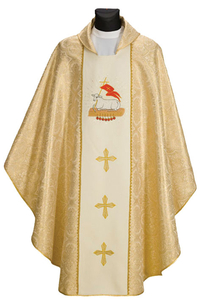 Gothic Chasuble - Agnus Dei on Gold Fabric