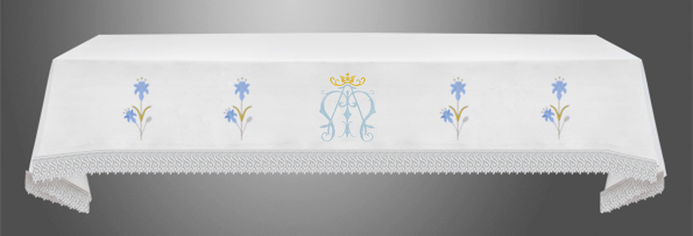 Altar Cloth with (Style IVa) Blue Marian Embroidery