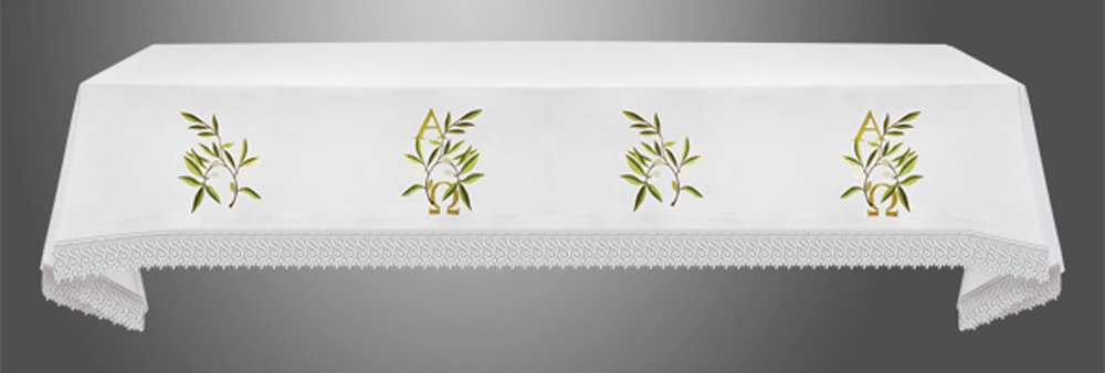 Altar Cloth with (Style IX) Olive Leaves with A&O