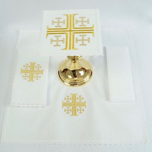 Small Linen - Jerusalem Cross in Gold