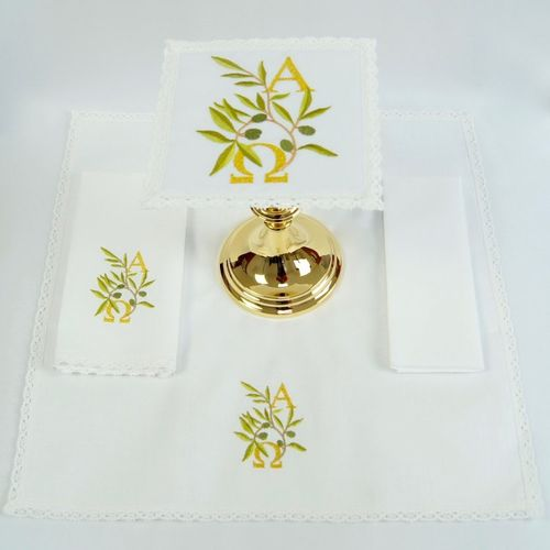 Small Linen - Alpha & Omega in Olive Leaves