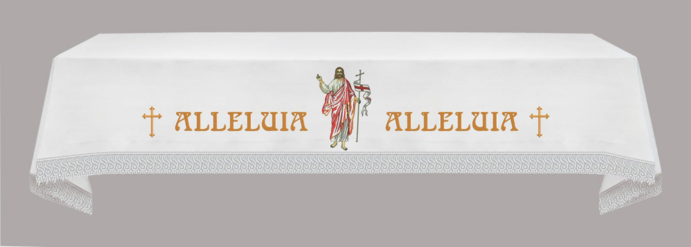 EASTER Altar Cloth with the Risen Christ & Alleluia