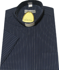 Navy Blue Single Pin Shirt-Short Sleeves