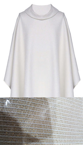 White Chasuble (Gold Thread) with Roll Collar