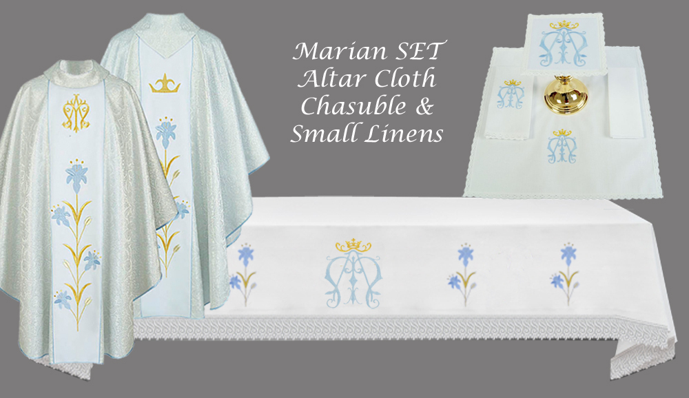 MARIAN SET Altar Cloth (Style IVa), Chasuble & Linens