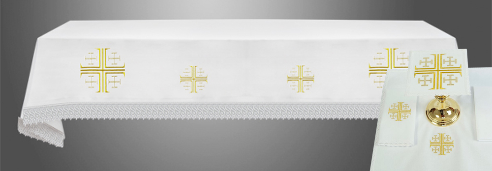 Altar Cloth with (Style II) Jerusalem Crosses with linens