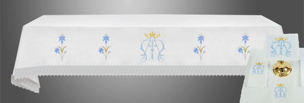 Altar Cloth with (Style IVa) and linens in Blue Marian Embroidery
