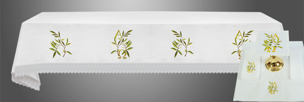 Altar Cloth (Style IX) with linens in Eucharistic Embroidery with A&O