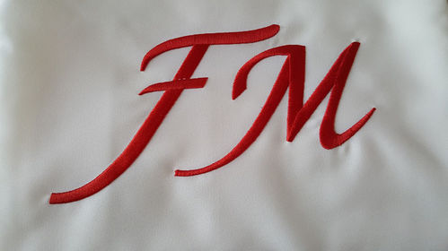 Cream FM display Cloth w Red FM
