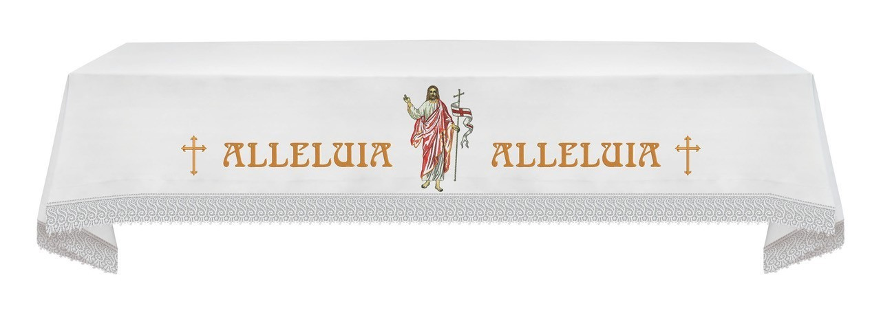 EASTER Altar Cloth with the Risen Christ & Alleluia w linens
