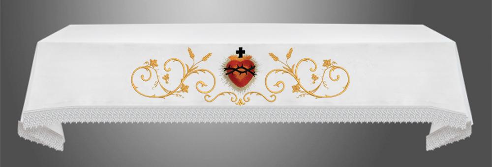 Sacred Heart Altar Cloth with centred Sacred Heart Symbol