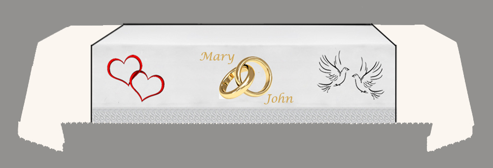 CUSTOMISED WEDDING Fall -Hearts-Rings-Doves-NAMES