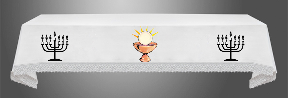 Exposition Altar Cloth with centred Chalice, 7 Branch and Host